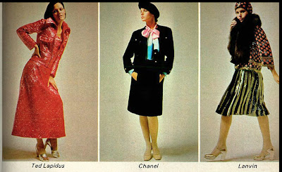 anos 70; moda década de 70, moda anos 70, chanel, ted lapidus, lanvin