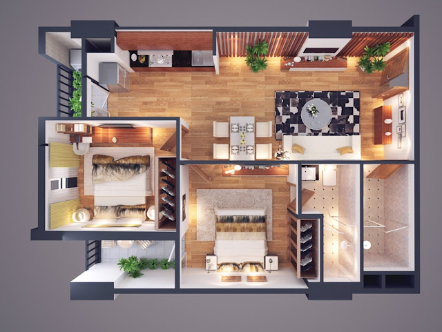 căn hộ loại C diện tích 68 m2