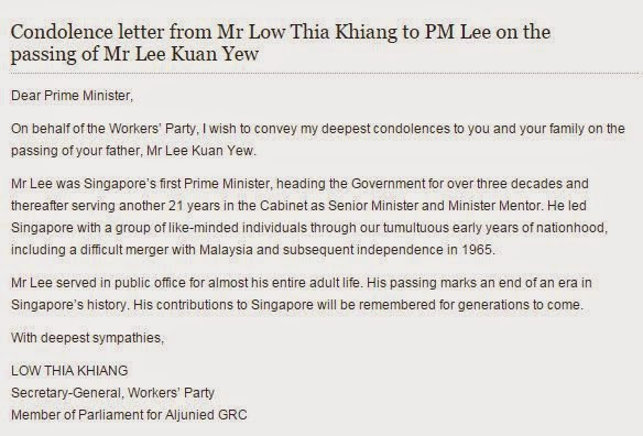 Blogging for Myself: Low Thia Khiang's stingy tribute to LKY