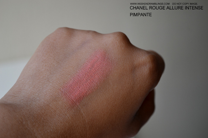Chanel Makeup Rouge Allure Luminous Intense Peach Lipstick Pimpante Indian Beauty Blog Reviews Swatches Darker Skin Makeup Looks FOTD Ingredients