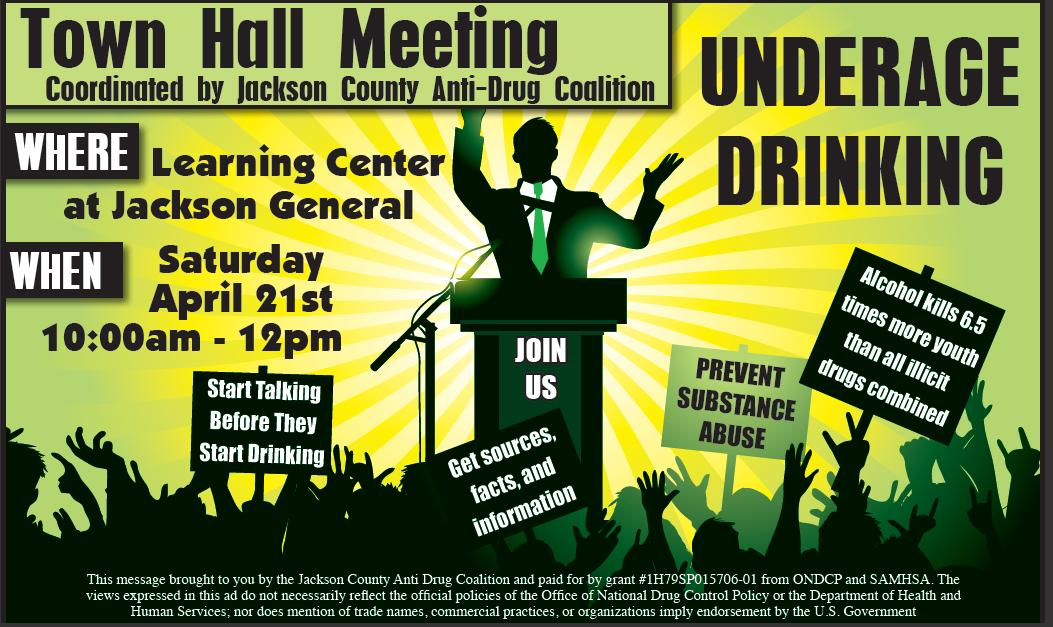 jackson county anti drug coalition underage drinking town hall