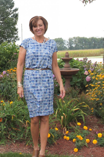 Butterick 6169 dress in Mood Fabrics'  abstract rayon jersey