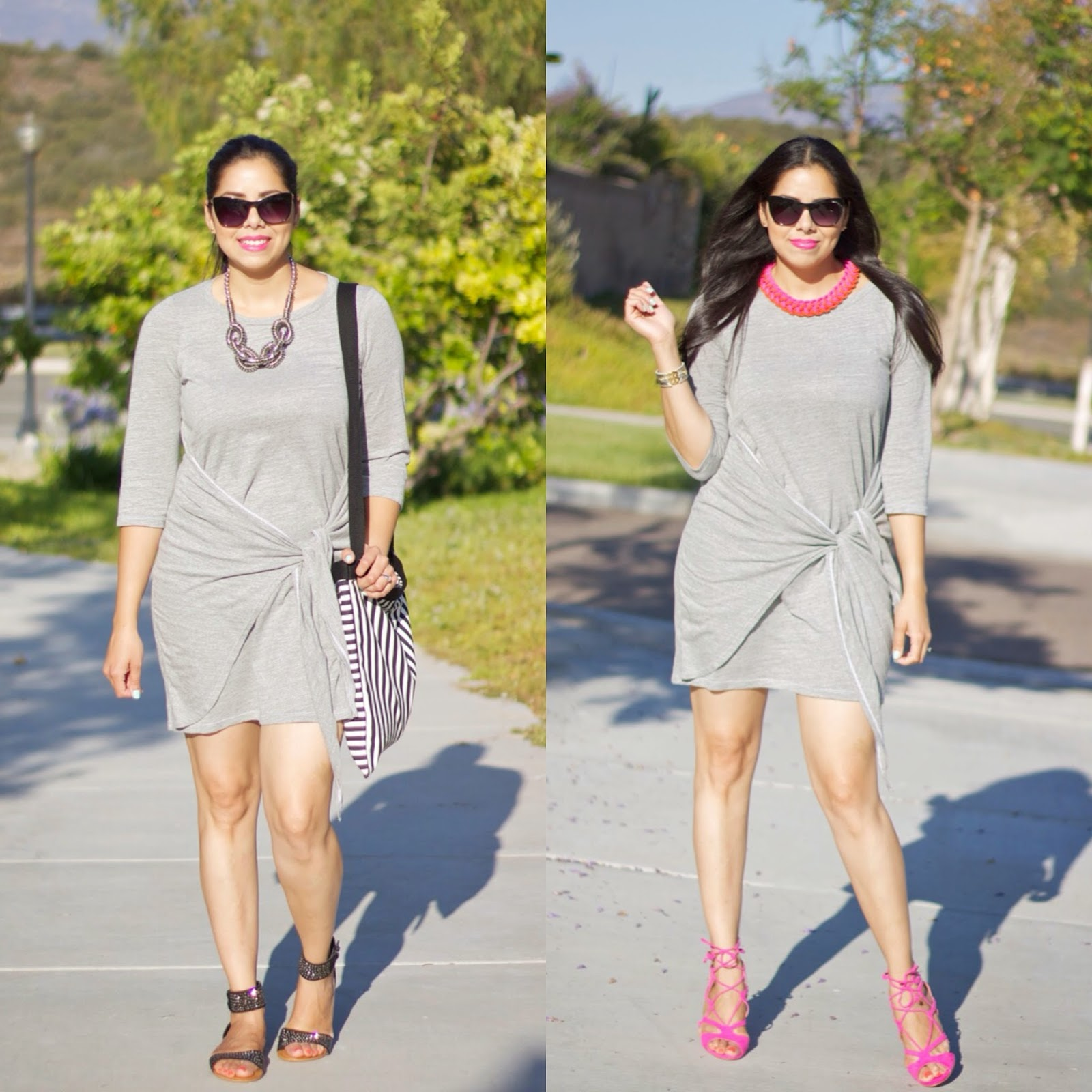 one dress from day to night, transitional gray dress, San diego fashion blogger, san diego style blogger