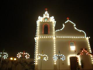 Iluminated Marrazes Church photo - Leiria - Portugal