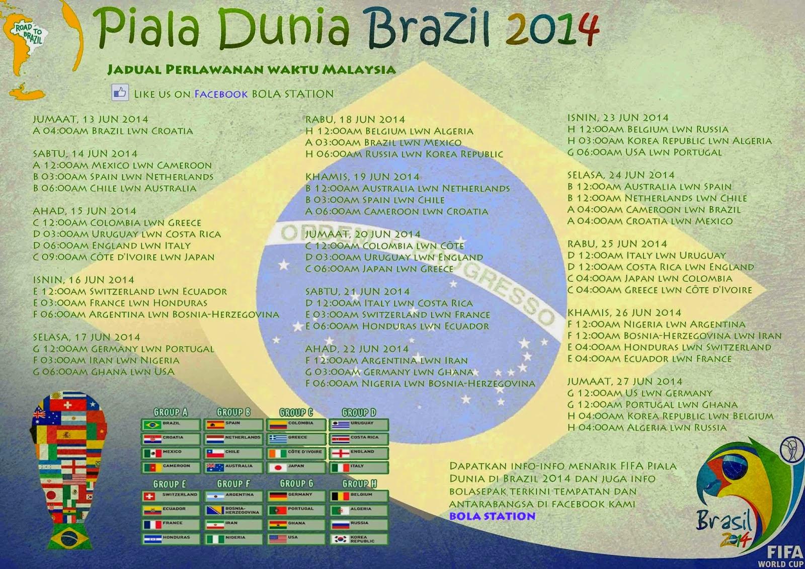 Bola Sepak Piala Dunia 2014 Waktu Malaysia | World Cup Brazil