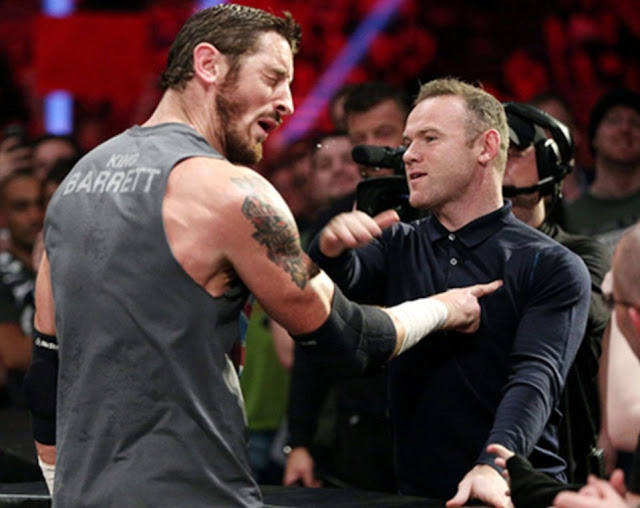 wayne rooney, wade barrett, slap, slaps, wwe, raw, manchester united, football, footballer, ring, wrestling, wrestler, english, england, lai, son, cesaro,