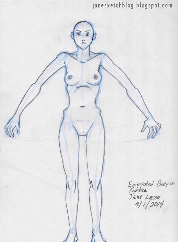 Dibujo de cuerpo demacrado
