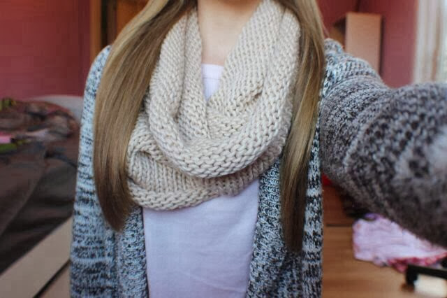 Adorable scarf and cardigan for fall