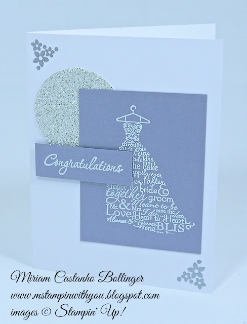 Miriam Castanho Bollinger, #mstampnwithyou, stampin up, demonstrator, fms, bridal card, wedding card, love & laughter stamp set, brushed silver card stock, silver glimmer paper, heat embossing, su