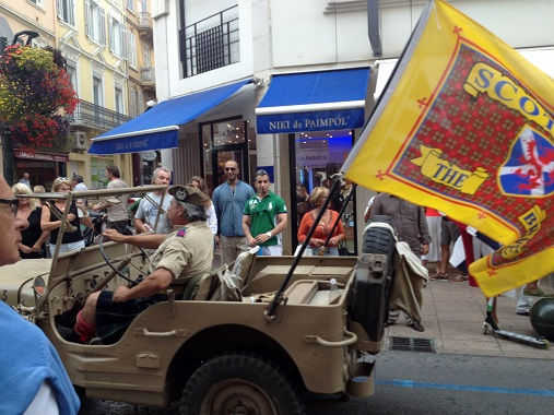 Flying the flag for Scotland in the Cannes Liberation Parade