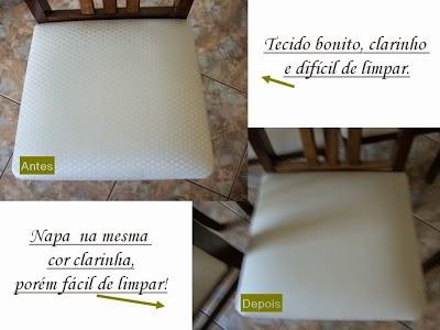 Antes tecido clarinho, depois material sintético na mesma cor.