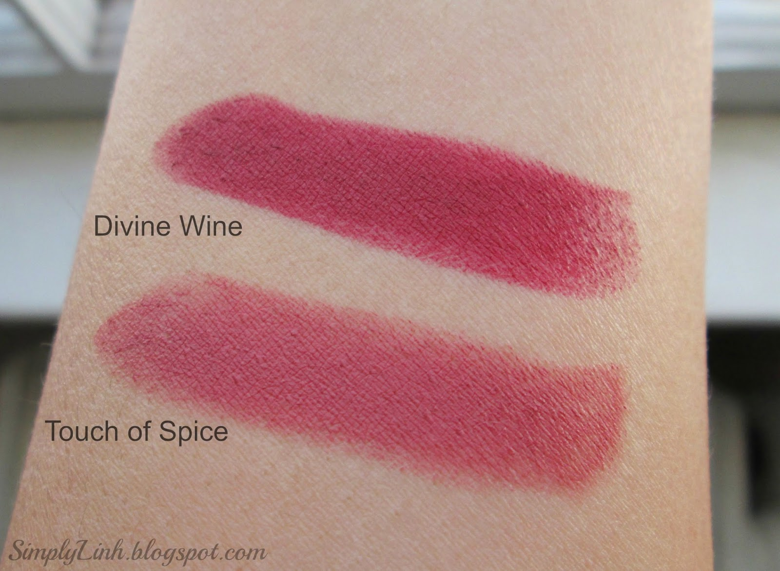 Maybelline Creamy Mattes Lipstick in 'Touch of Spice' and 'Divine Wine' Swatches