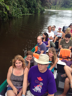 Mike, Gena and kids on a boat to Tortuguero
