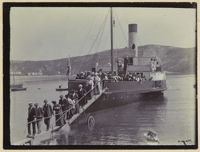 Geologists' Association Swanage Excursion, May 14th 1910.  Here the GA members travel by steamer. Disembarking in Lulworth Cove.