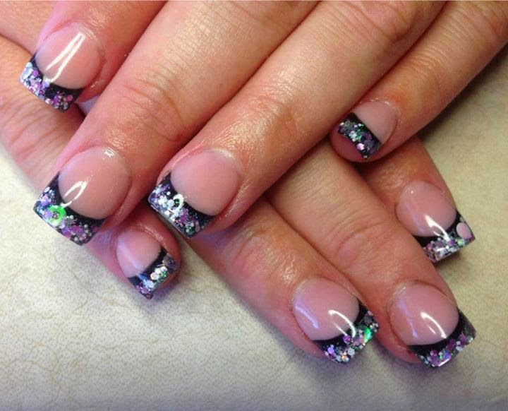 Acrylic sculpts with embedded mylar, sequins - Nail Art Design