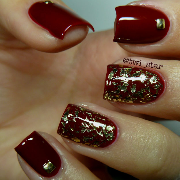 awesome burgundy and gold chevron nails | Nails | Pinterest | Gold ...