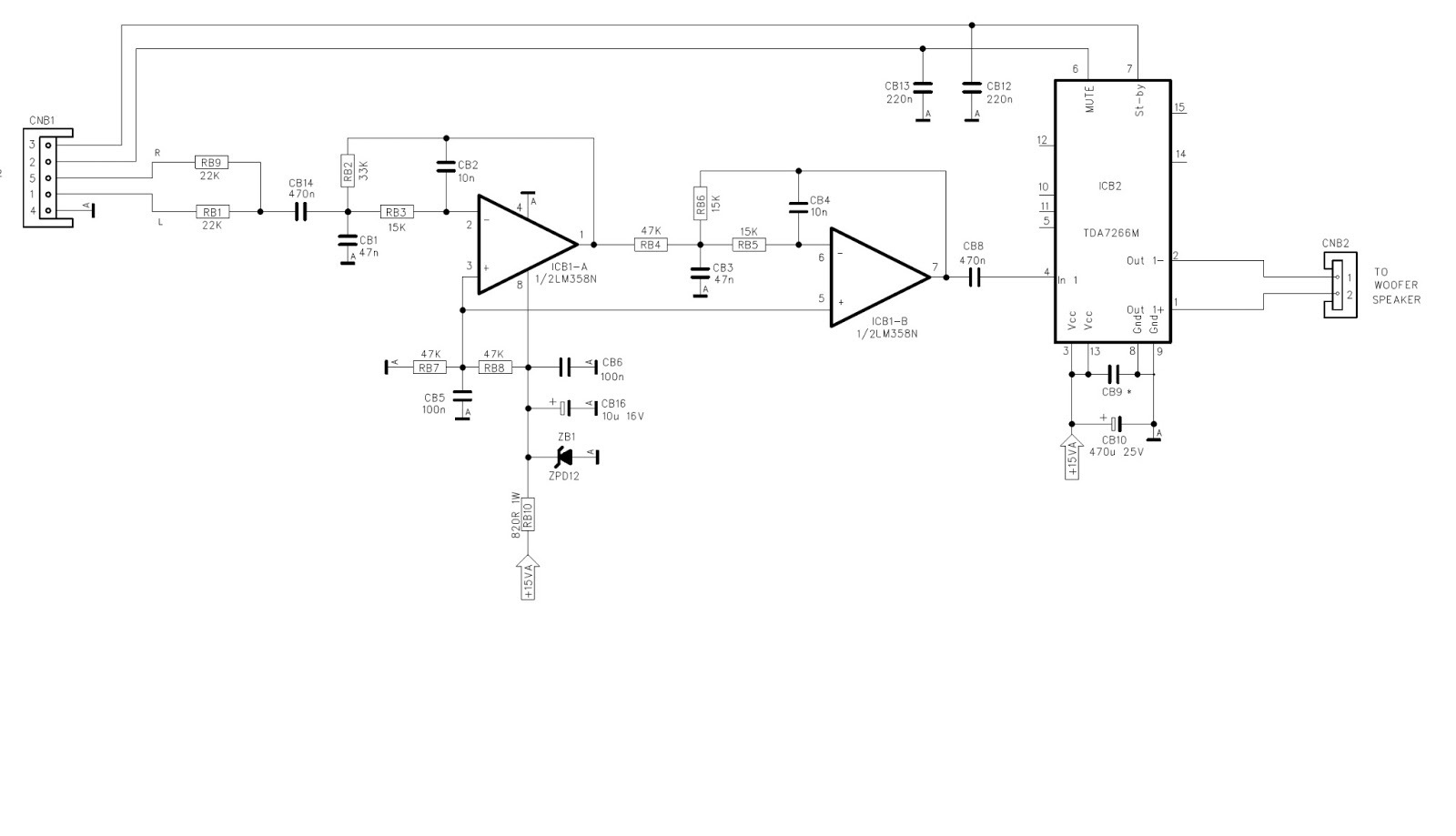 Circuit For Amplifier With Woofer Dual Ne5532 Subwoofer Processing Low Pass Filter Board