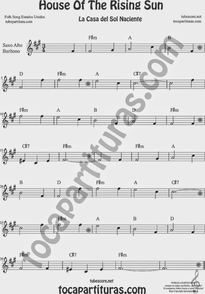 La Casa del Sol Naciente Partitura de Saxofón Alto y Sax Barítono Sheet Music for Alto and Baritone Saxophone Music Scores