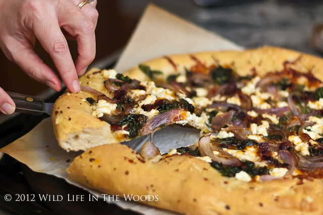 Pizza Bianca with Goat Cheese and Swiss Chard - That Susan Williams