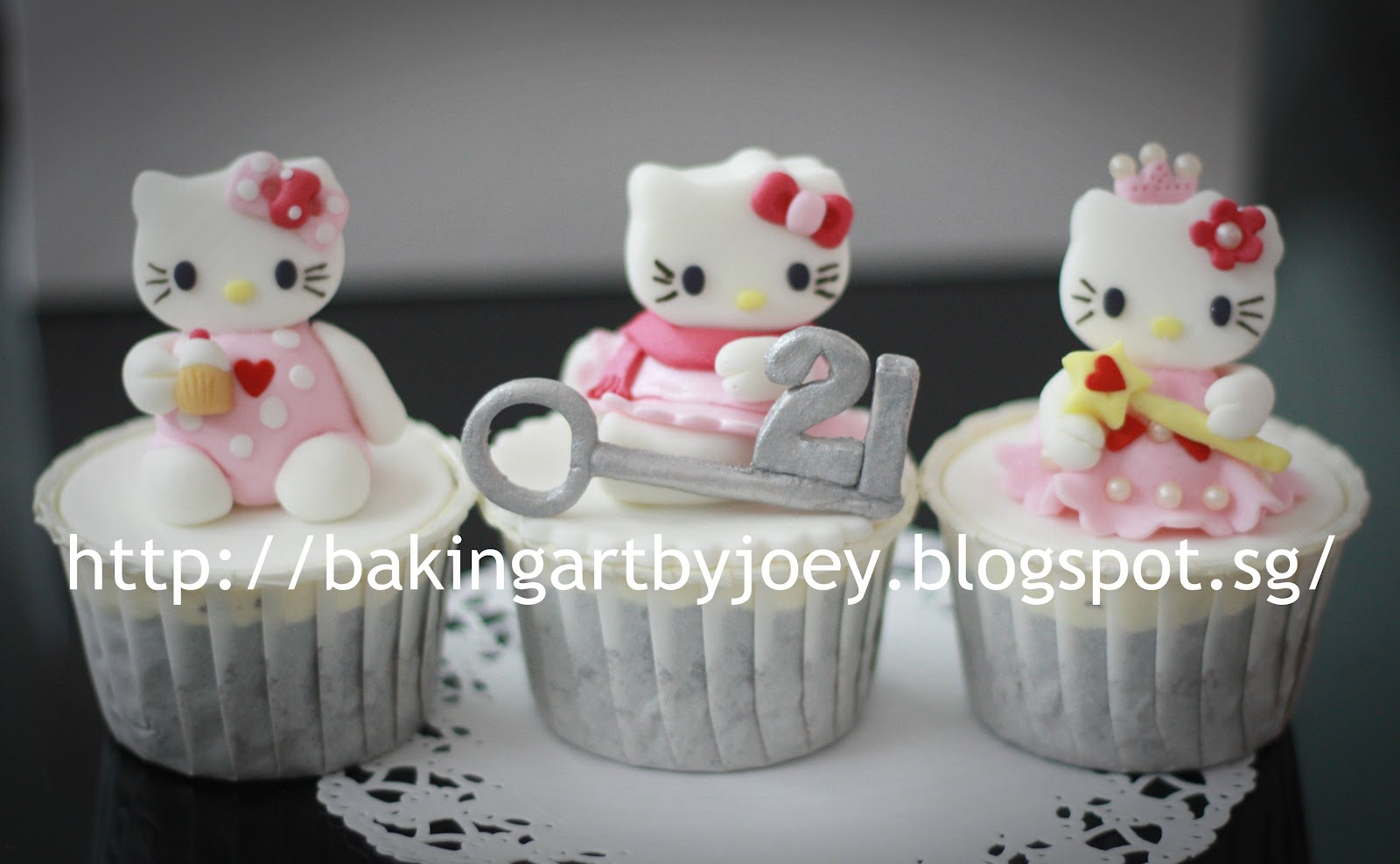 Hello Kitty Holding A Cupcake