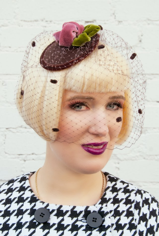 fascinator with veil, velvet hat, lime crime poisonberry, elegant headwear