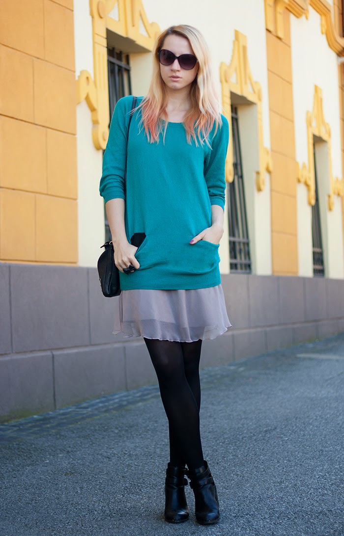Skinny Buddha teal sweater layers