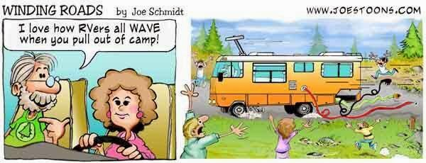 Funny RV Toon showing the hazards of not having a hook up check list