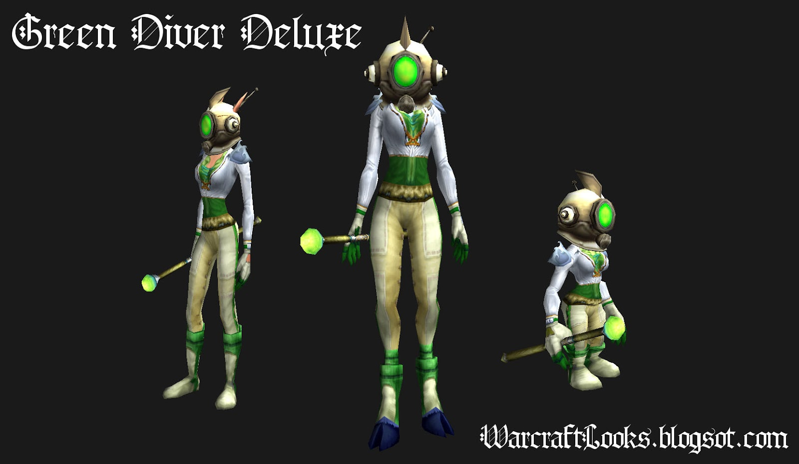 Cloth Transmog Outfit - \ Green Diver Deluxe\  & Warcraft Looks: Cloth Transmog Outfit - \
