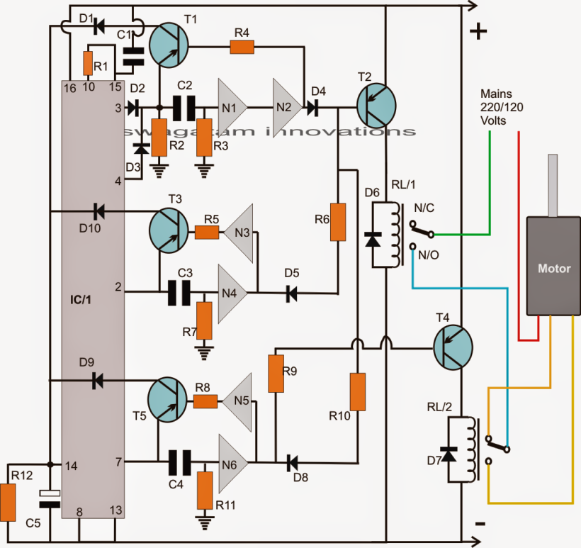 Simple Washing Machine Wiring Diagram : Washing machine motor agitator timer circuit