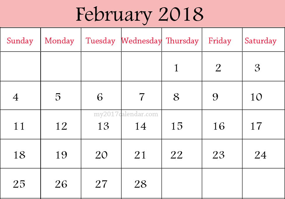 calendar 2018 printable template
