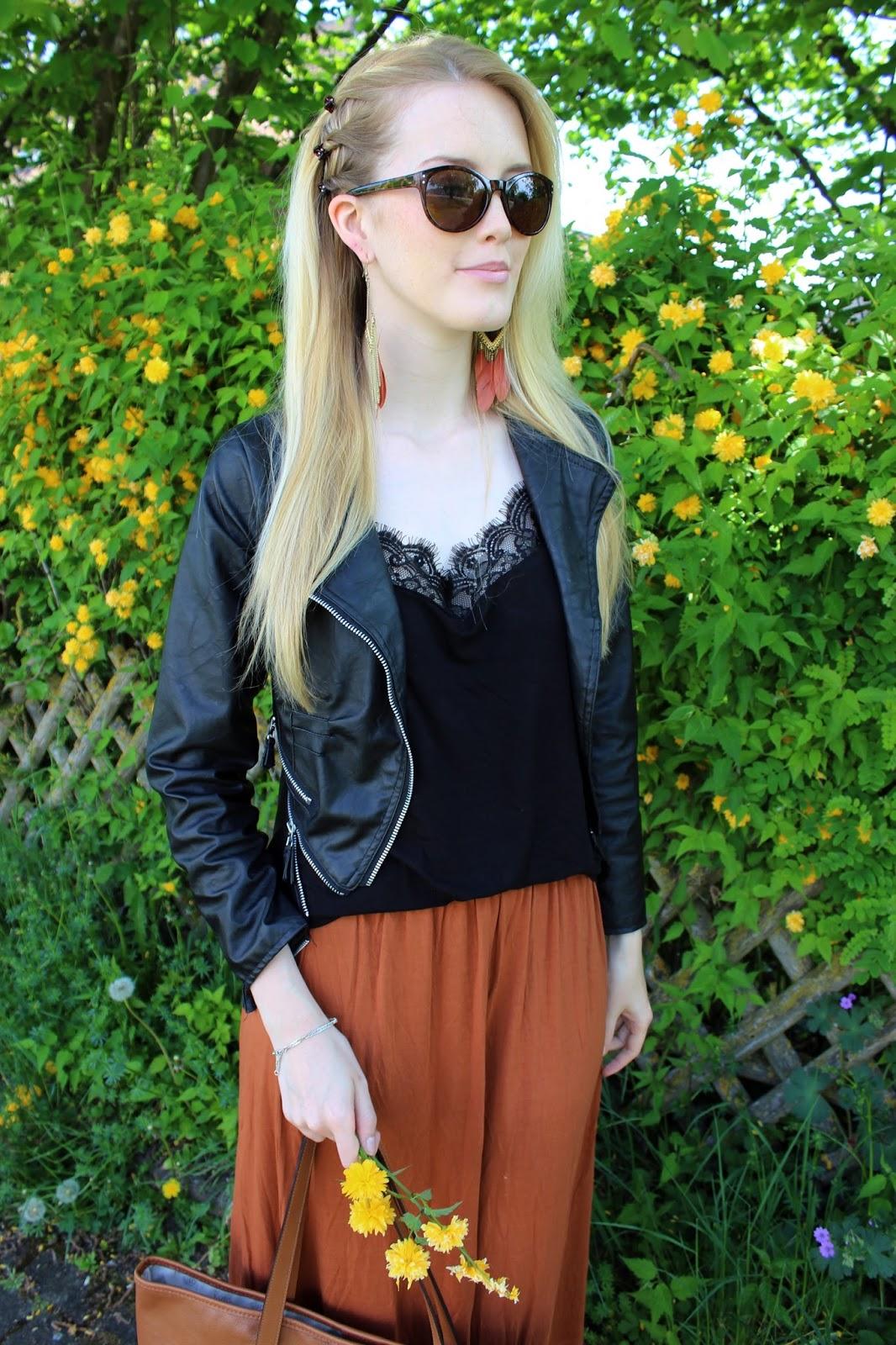 Maxirock maxiskirt Outfit TheBlondeLion Michael Kors Maxi Boho Hippie edgy