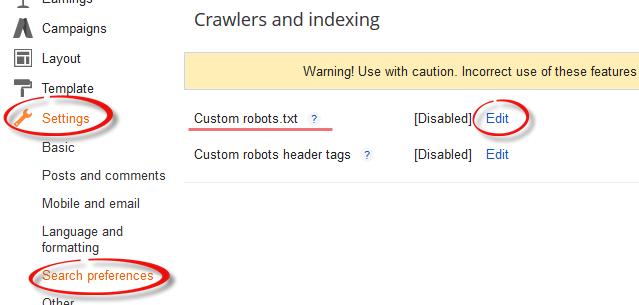 blogger custom robots