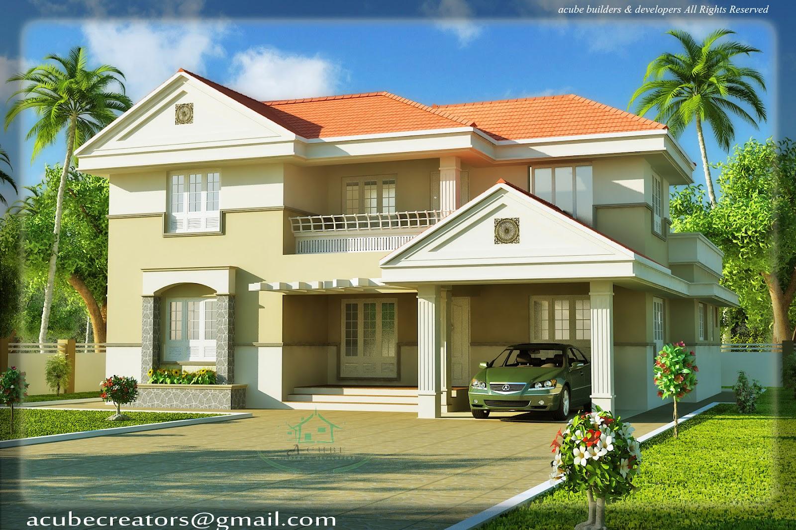 Keralahousedesigns Acube Builders Developers Elevation 3d View
