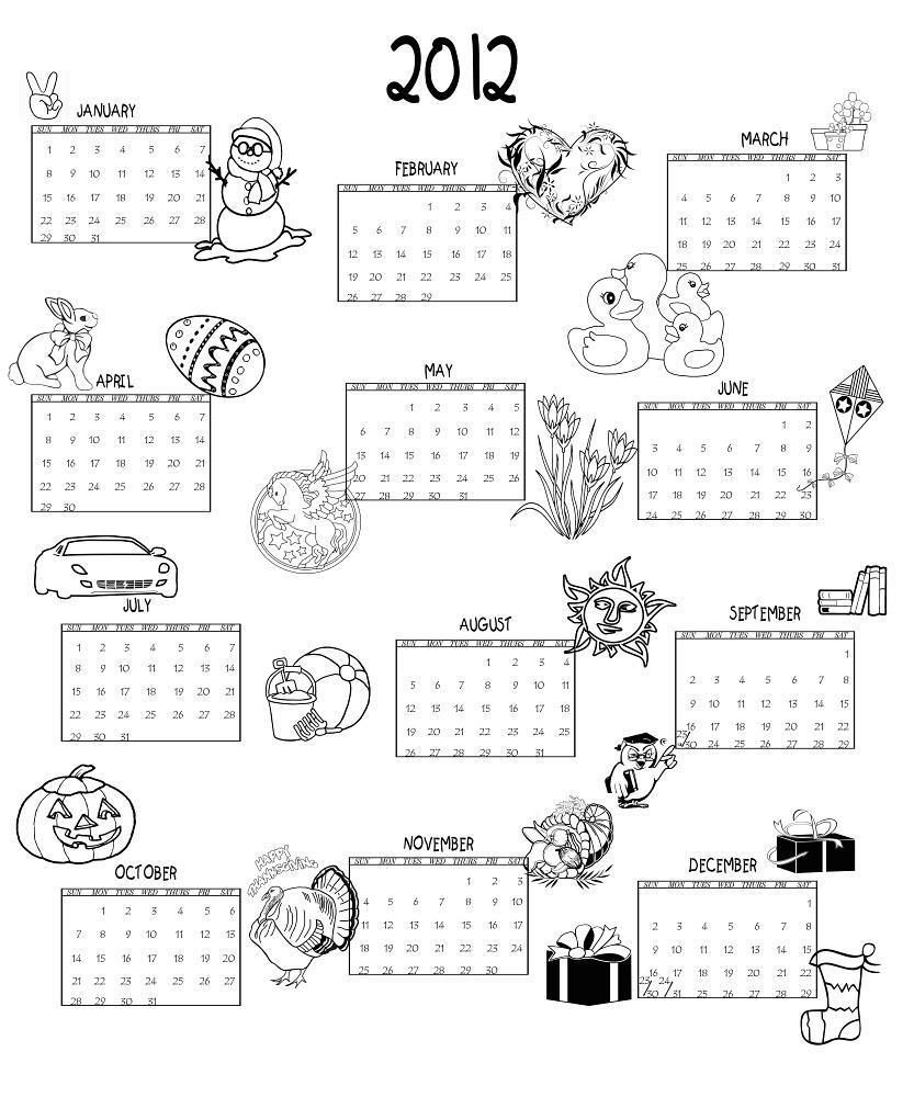 2012 Calendar Printable One Page