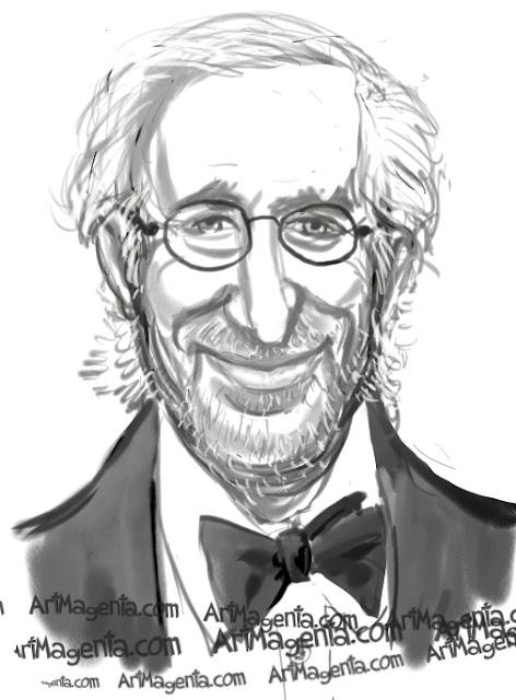 Steven Spielberg caricature cartoon. Portrait drawing by caricaturist Artmagenta.