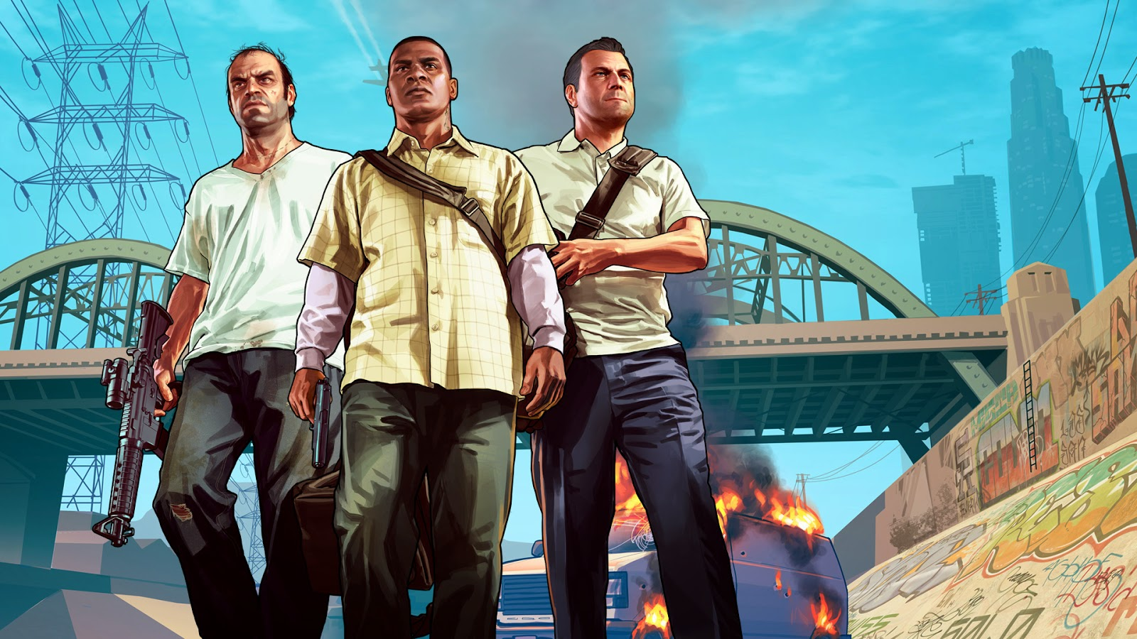 Grand Theft Auto V Franklin Michael & Trevor HD desktop  - michael franklin trevor in gta wallpapers