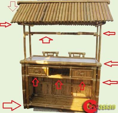 3-piece Bamboo Patio Tiki Bar Stool Set: Creasian\'s Bamboo Bar ...