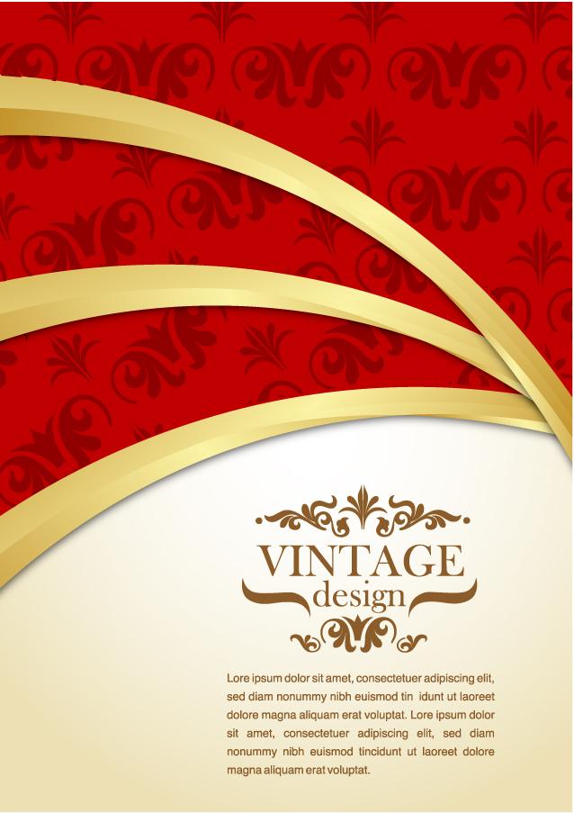 金の曲線と赤の対比が美しい背景 golden retro background イラスト素材