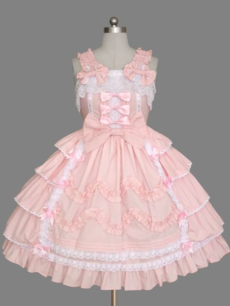 Sweet Pink Lace and Bow Sleeveless Lolita Dress