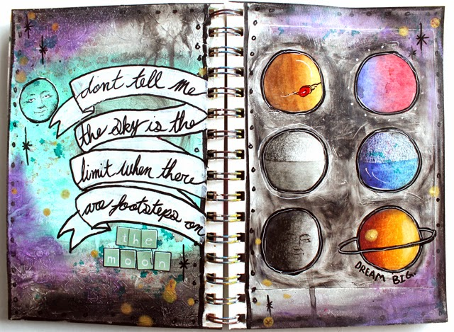 Punk projects galaxy moon art journal for Journal painting ideas