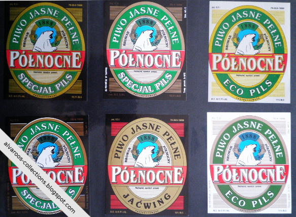 Beer labels collection: Północne: Specjal Pils, Eco Pils, Jaćwing