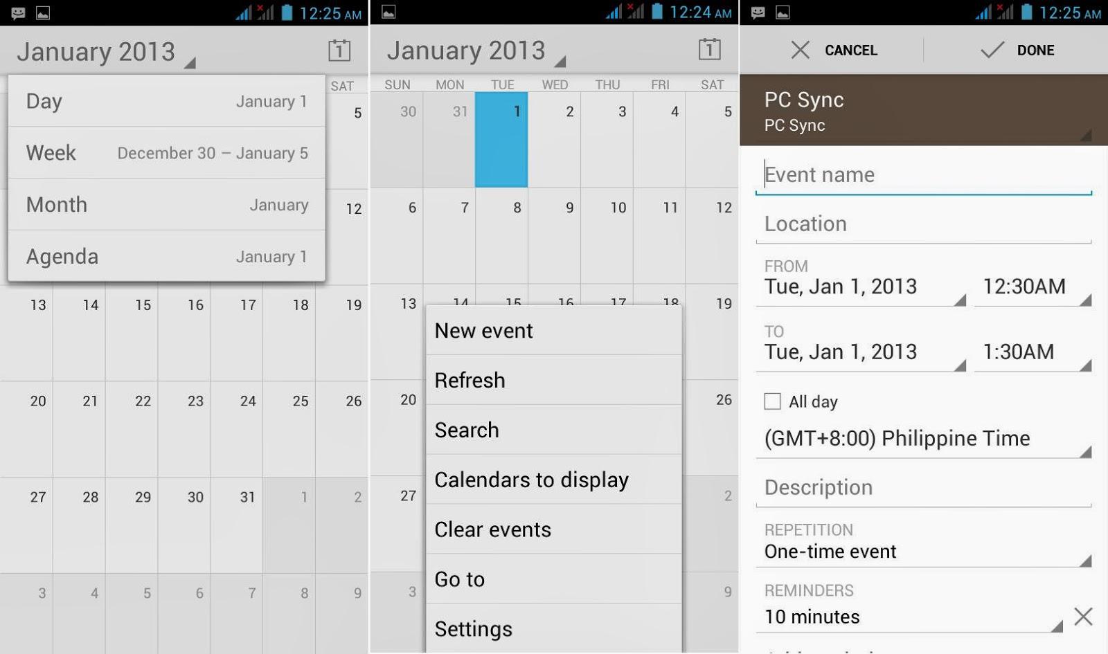DTC Mobile GT17 Jupiter Calendar