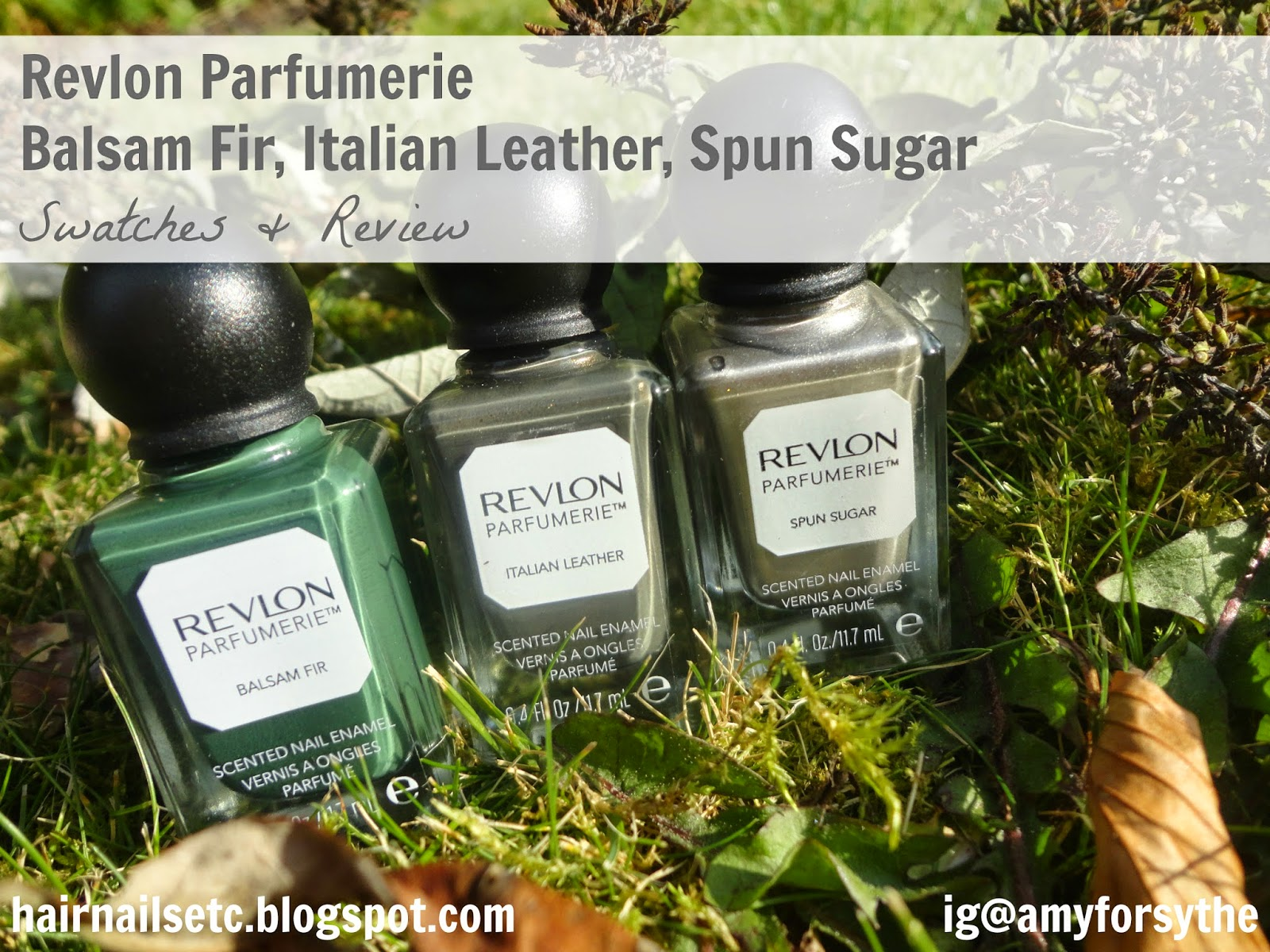 Revlon Parfumerie Nail Enamel Polish Varnish in Balsam Fir, Italian Leather and Spun Sugar