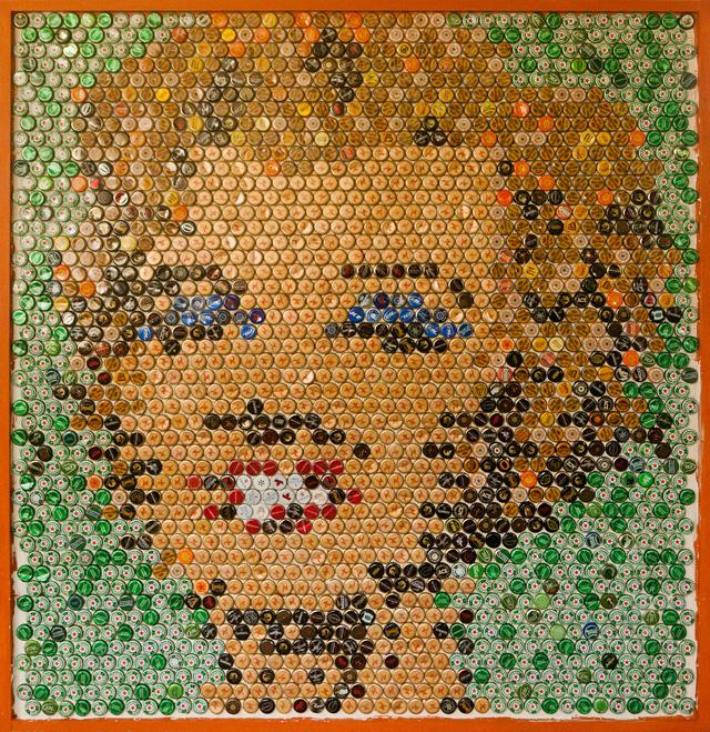 Retrato de Marilyn Monroe de tampinhas de cerveja