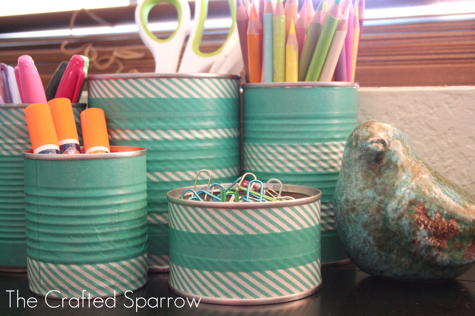 Washi tape tin cans the crafted sparrow for Tin cans for crafts