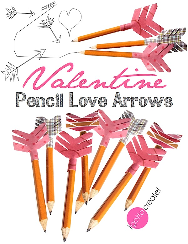 Make your own Pencil Love Arrows with this tutorial from I Gotta Create! Perfect for letting your love fly on Valentines, or for weddings, anniversaries, teacher appreciation, and more!