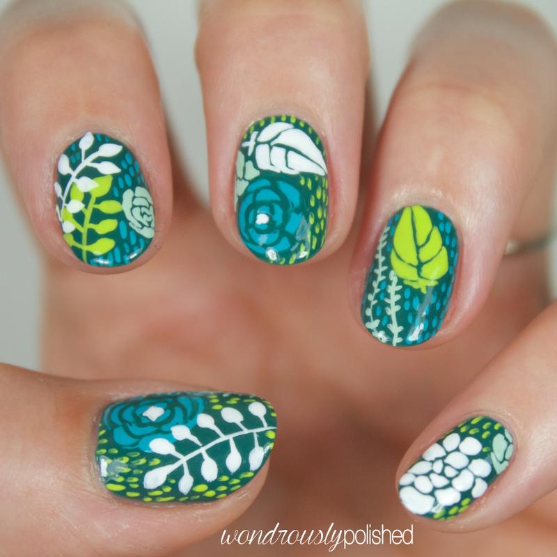 Wondrously Polished: Succulent Inspired Nail Art (yes, nail art!)