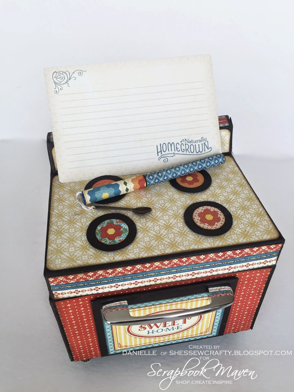 Vintage Stove/Oven Recipe Box using Graphic 45 Home Sweet Home Design Team Final Round Project