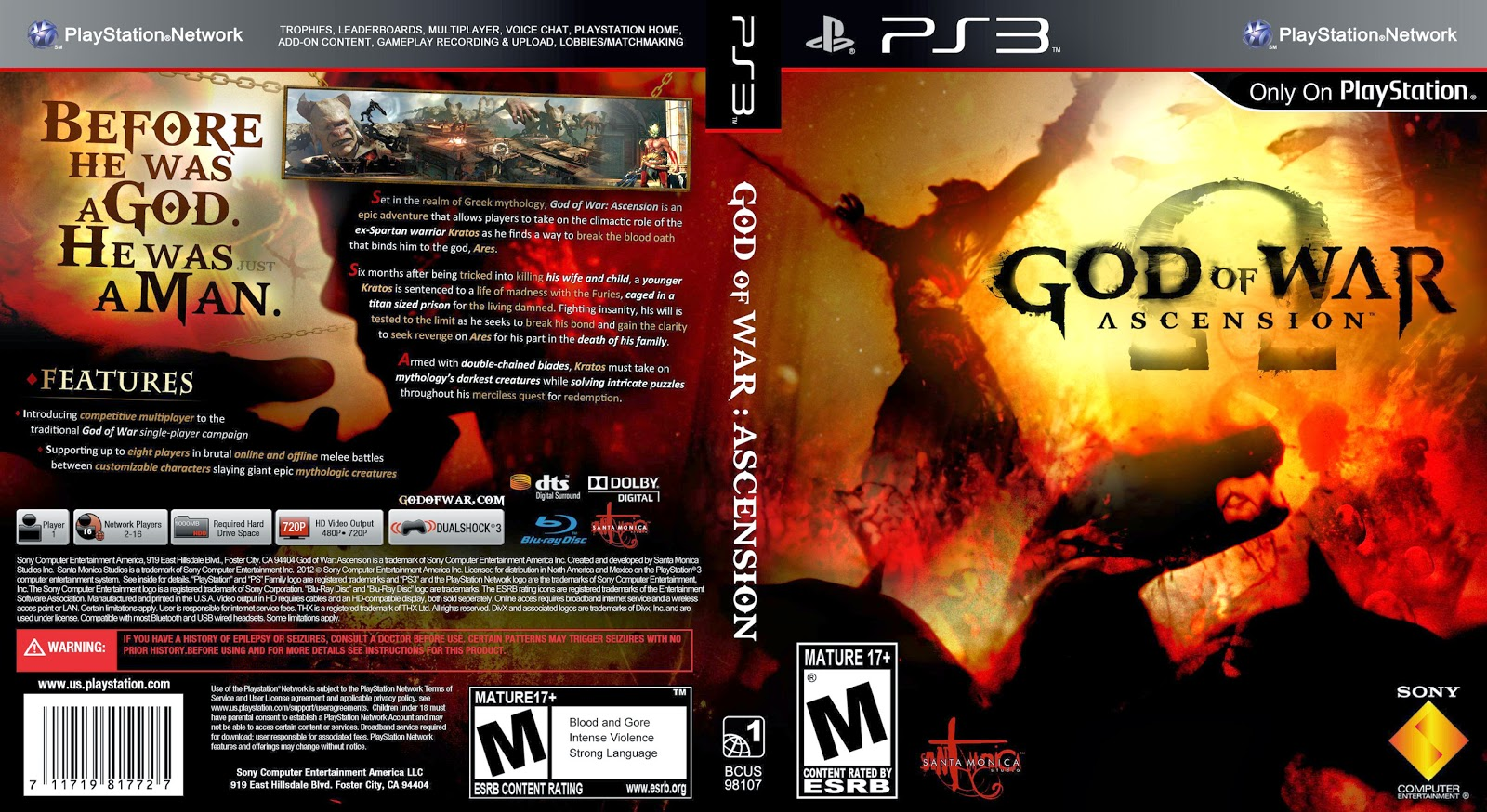 Capa God Of War Ascension PS3