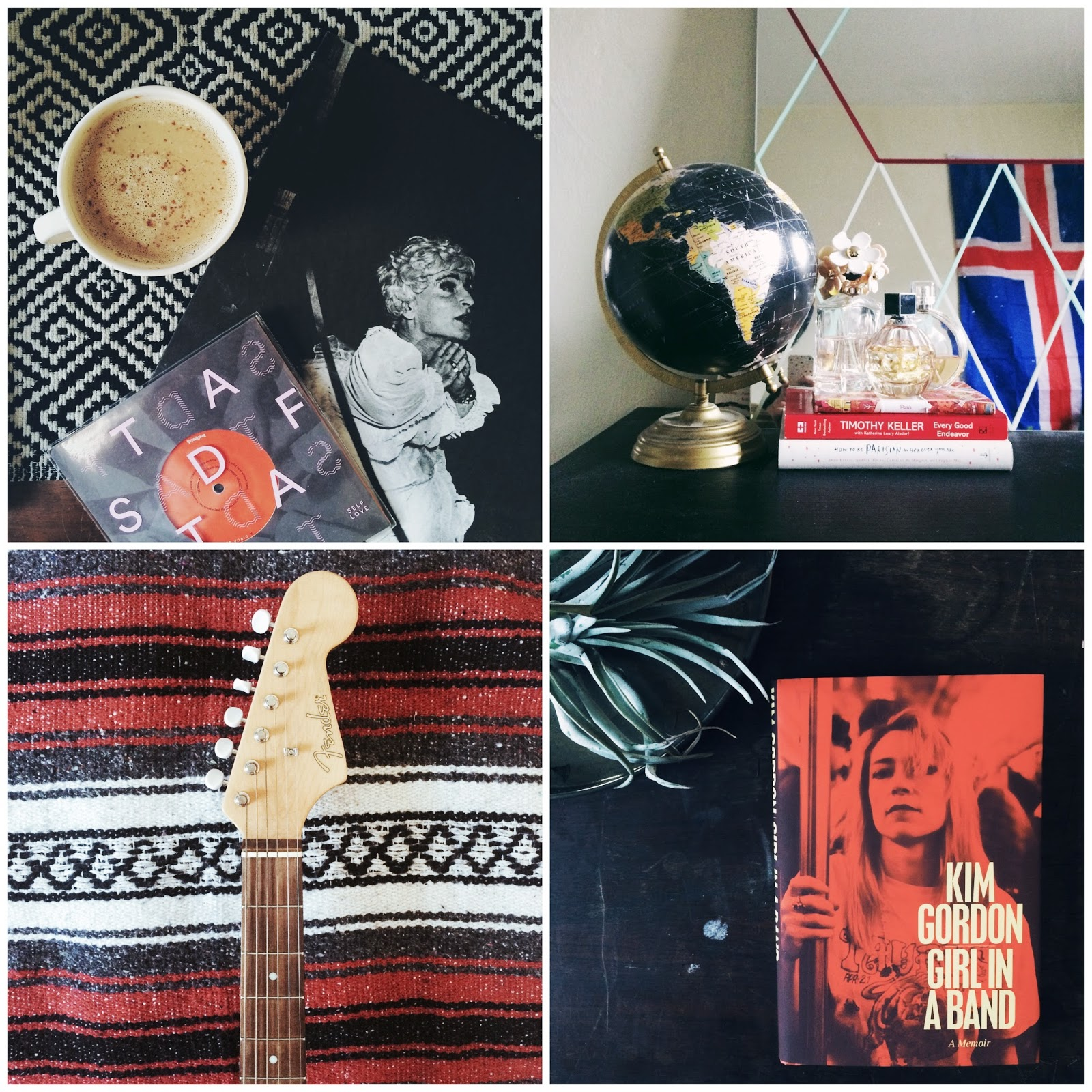 Girl in a Band, Kim Gordon, globe, iceland, flag, decor, Fender, acoustic, mexican, blanket, self defense family, touché amore,